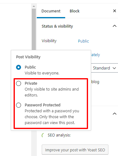 How to make WordPress post private