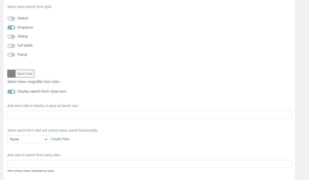 search menu appearance settings