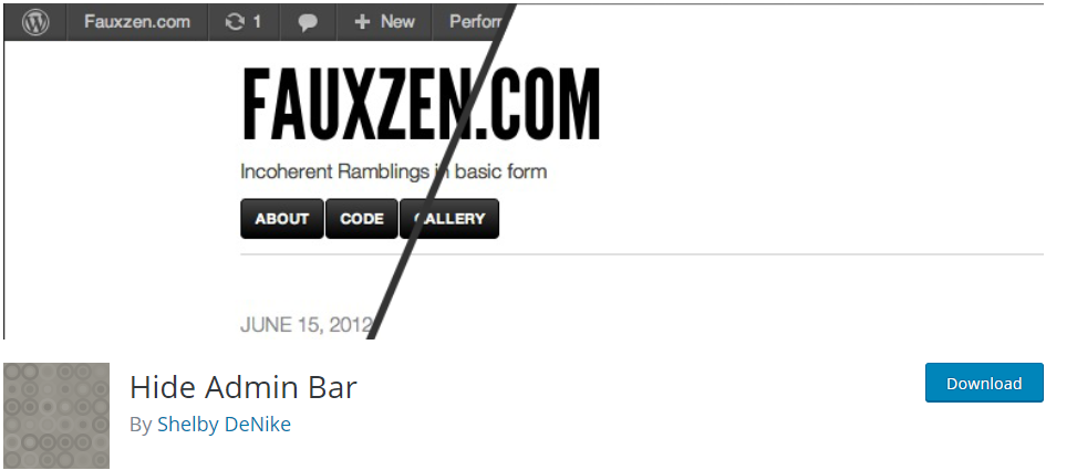 how to remove admin bar using a wordpress plugin