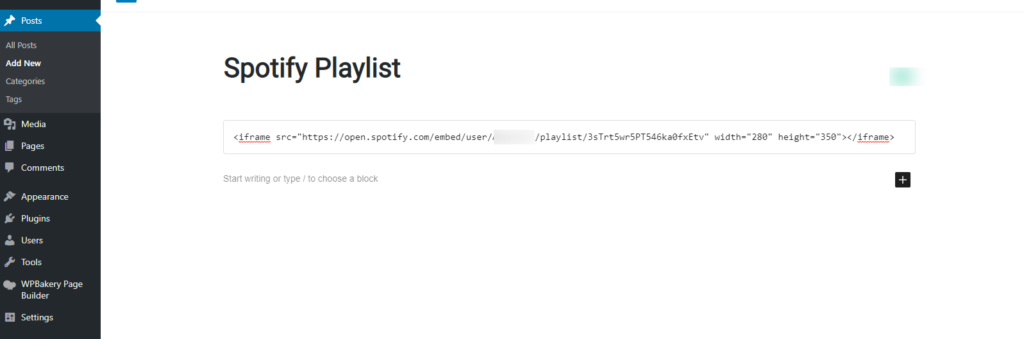 embed spotify iframe code in post