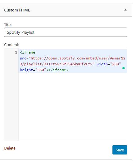 embed spotify playlist in WordPress